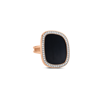 18Kt Gold Ring With Diamonds And Black Jade
