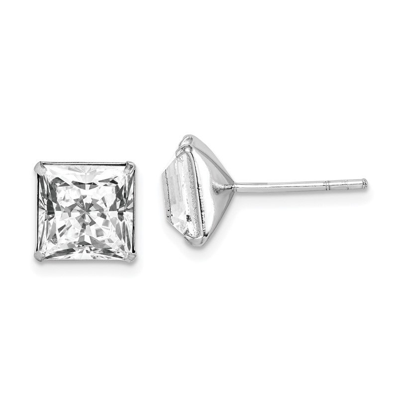 Quality Gold Sterling Silver Rhodium-plated Swarovski Crystal Square Post Earrings