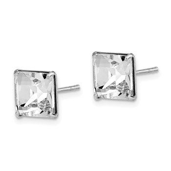 Sterling Silver Rhodium-plated Swarovski Crystal Square Post Earrings