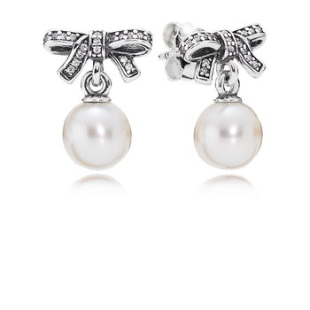 Delicate Sentiments Drop Earrings, White Pearl & Clear CZ