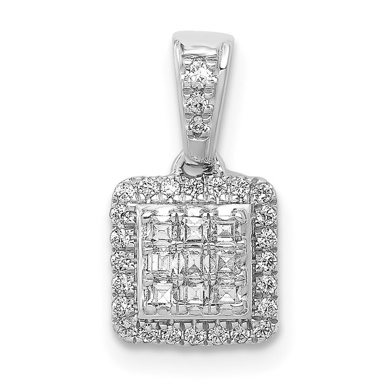 Quality Gold 14k White Gold 1/4ct. Diamond Square Cluster Pendant