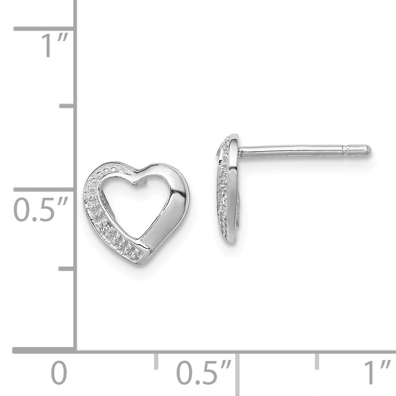 Lester Martin Online Collection Sterling Silver Rhodium Diamond Heart Post Earrings