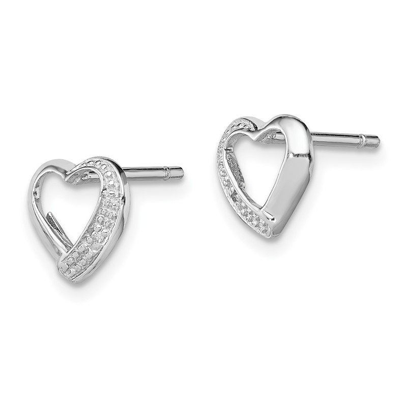 Quality Gold Sterling Silver Rhodium Diamond Heart Post Earrings