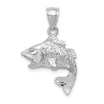 14k White Gold Polished Textured Bass Pendant