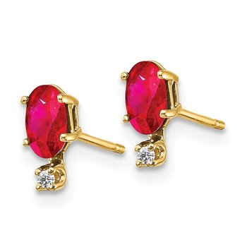 14k Diamond & Ruby Birthstone Earrings