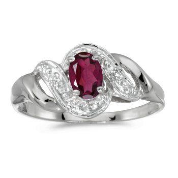 10k White Gold Oval Rhodolite Garnet And Diamond Swirl Ring