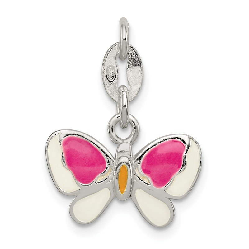 Quality Gold Sterling Silver Enamel Butterfly Pendant