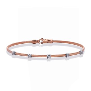 Rose White Gold Bangle Italian Made