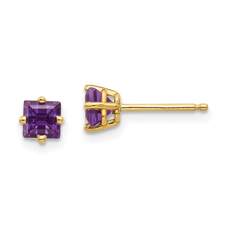 Quality Gold 14k 4mm Princess Cut Amethyst Earrings
