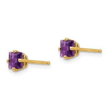 14k 4mm Princess Cut Amethyst Earrings
