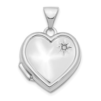 14K White Gold with Diamond 16mm Heart Locket Pendant