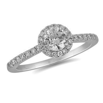 18K WG Diamond Engagement Ring with Round Halo in Prong Setting