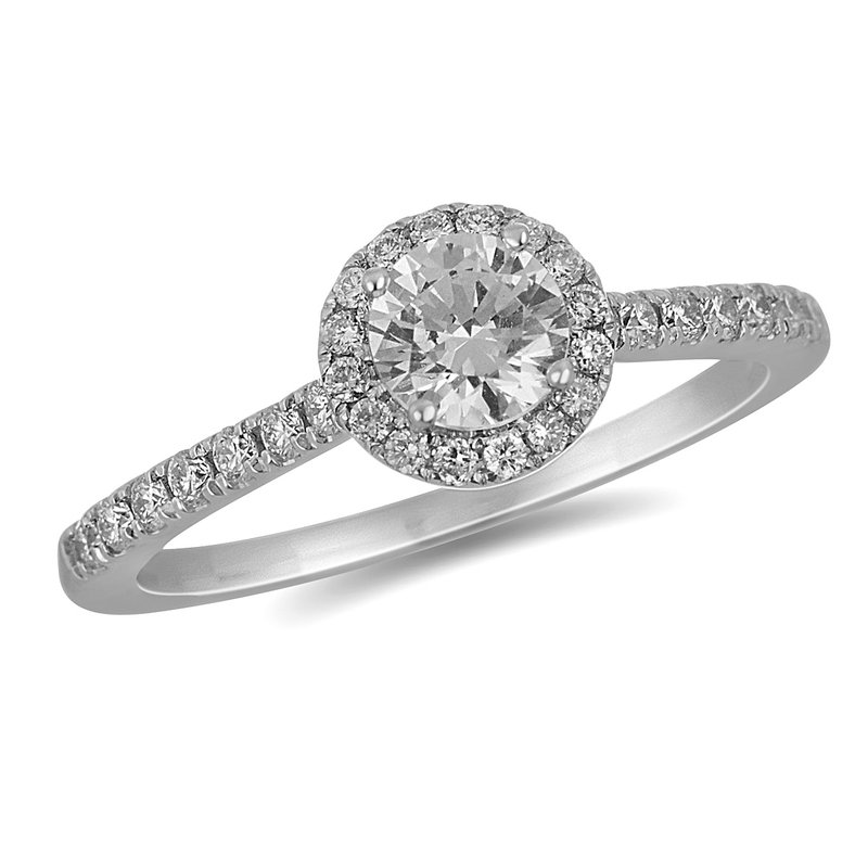 BB Impex 18K WG Diamond Engagement Ring with Round Halo in Prong Setting