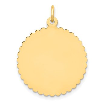 14k Engravable Round Scalloped Disc Charm