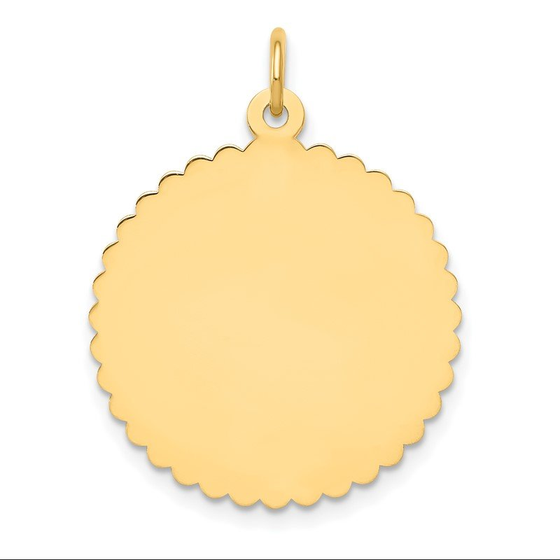Quality Gold 14k Engravable Round Scalloped Disc Charm
