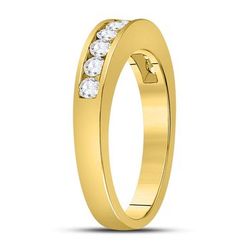 14kt Yellow Gold Womens Round Channel-set Diamond Wedding Band 1/2 Cttw - Size 9