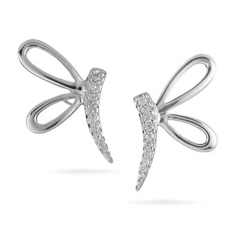 10K WG Diamond Dragonfly Earring