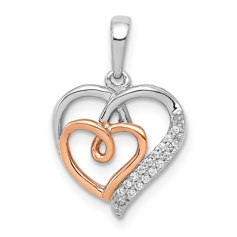 Quality Gold 14k White and Rose Gold 1/20ct. Diamond Double Hearts Pendant