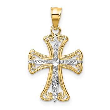 14k w/Rhodium Diamond-cut Cross Pendant