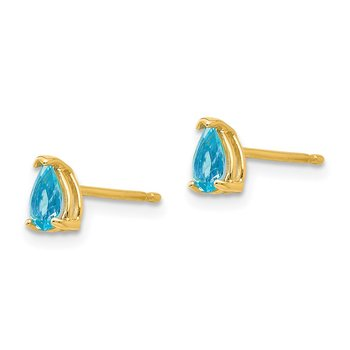 14k 5x3mm Pear Blue Topaz Earrings