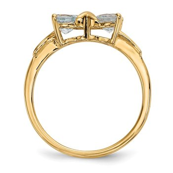 14k Gold Polished Aquamarine Bow Ring