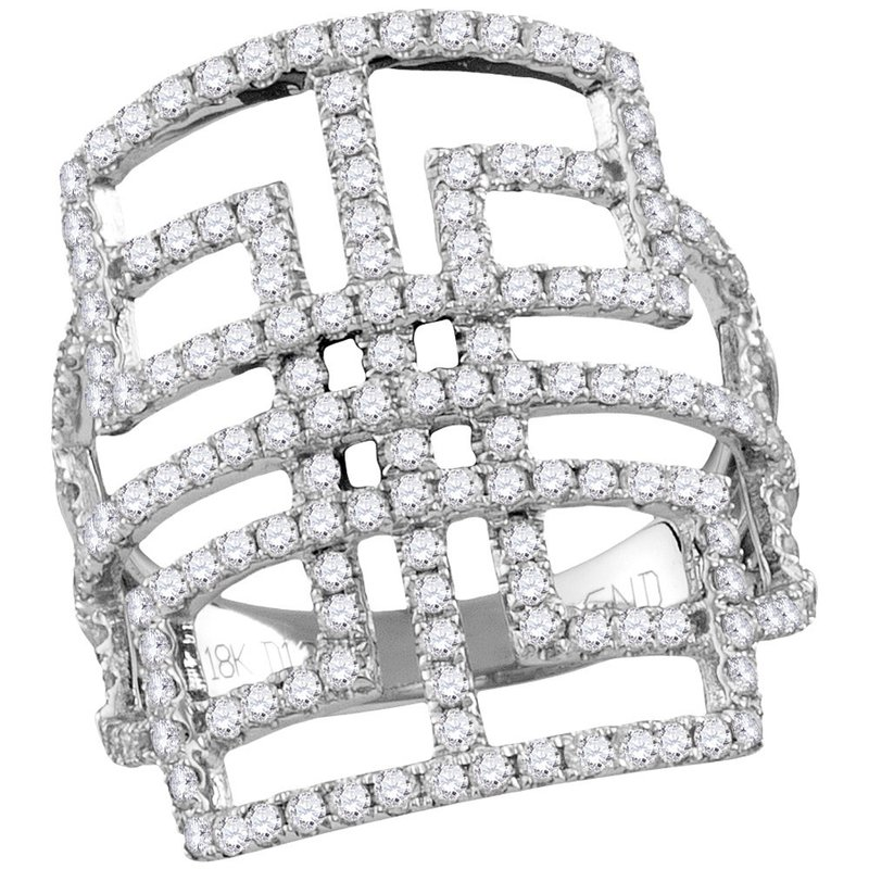 Kingdom Treasures 18kt White Gold Womens Round Diamond Openwork Symmetrical Knuckle Band Ring 1-1/5 Cttw