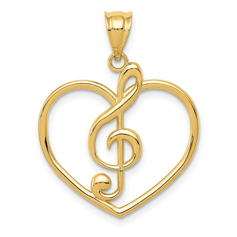Quality Gold 14K Treble Clef in Heart Charm