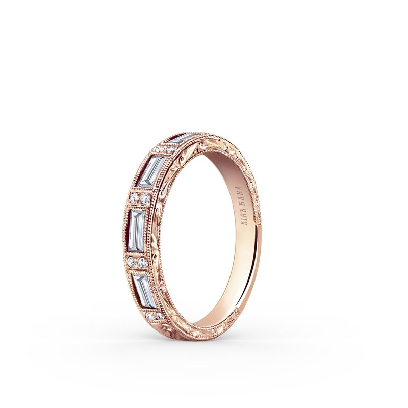 Baguette Engraved Diamond Wedding Band