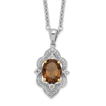 SS and 14k Accent RH-plated Smoky Quartz White Topaz Diamond 18in Necklace