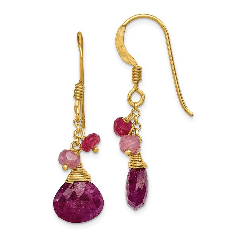 Quality Gold Sterling Silver Vermeil Ruby Earrings