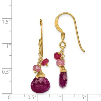 Sterling Silver Vermeil Ruby Earrings