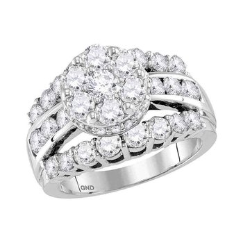 14kt White Gold Womens Round Diamond Flower Cluster Bridal Wedding Engagement Ring 3-1/4 Cttw