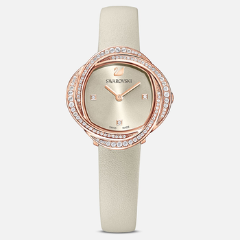 Crystal Flower Watch, Leather strap, Gray, Rose-gold tone PVD