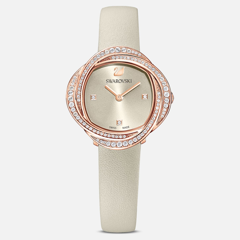 Swarovski Crystal Flower Watch, Leather strap, Gray, Rose-gold tone PVD