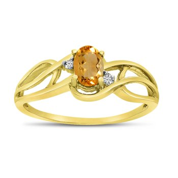 10k Yellow Gold Oval Citrine And Diamond Curve Ring