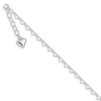 Sterling Silver Polished Puffed Heart 9in Plus 1in ext. Anklet