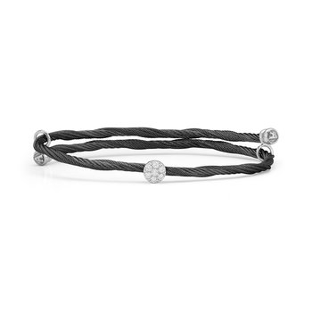 Black Cable Flex Size Bracelet with Round Diamond Station set in 18kt White Gold