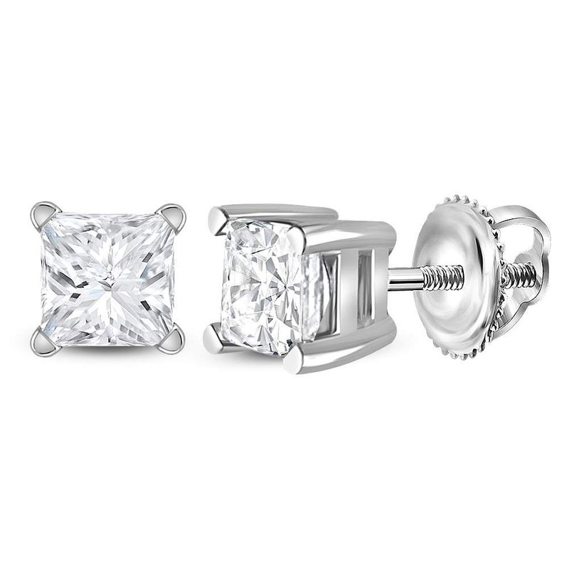 Gold-N-Diamonds 14kt White Gold Unisex Princess Diamond Solitaire Stud Earrings 3/4 Cttw