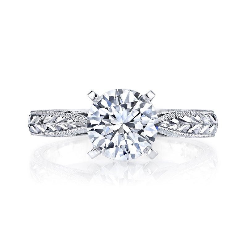 Mars Fine Jewelry Hand Engraved Solitaire Engagement Ring