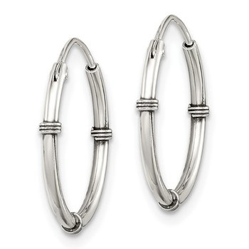 Sterling Silver Polished and Antiqued Endless Hoop Earrings