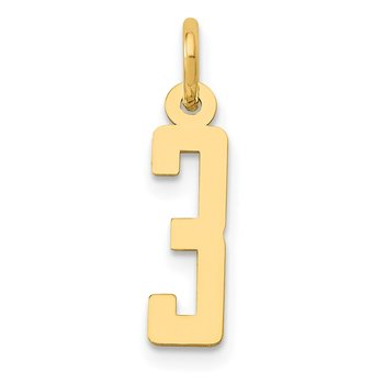 14k Small Polished Elongated 3 Charm