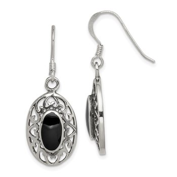Sterling Silver Oval Black Agate Shepherd Hook Antiqued Earrings