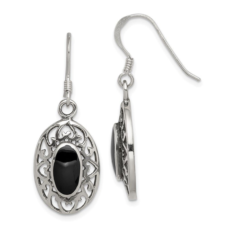 Quality Gold Sterling Silver Oval Black Agate Shepherd Hook Antiqued Earrings