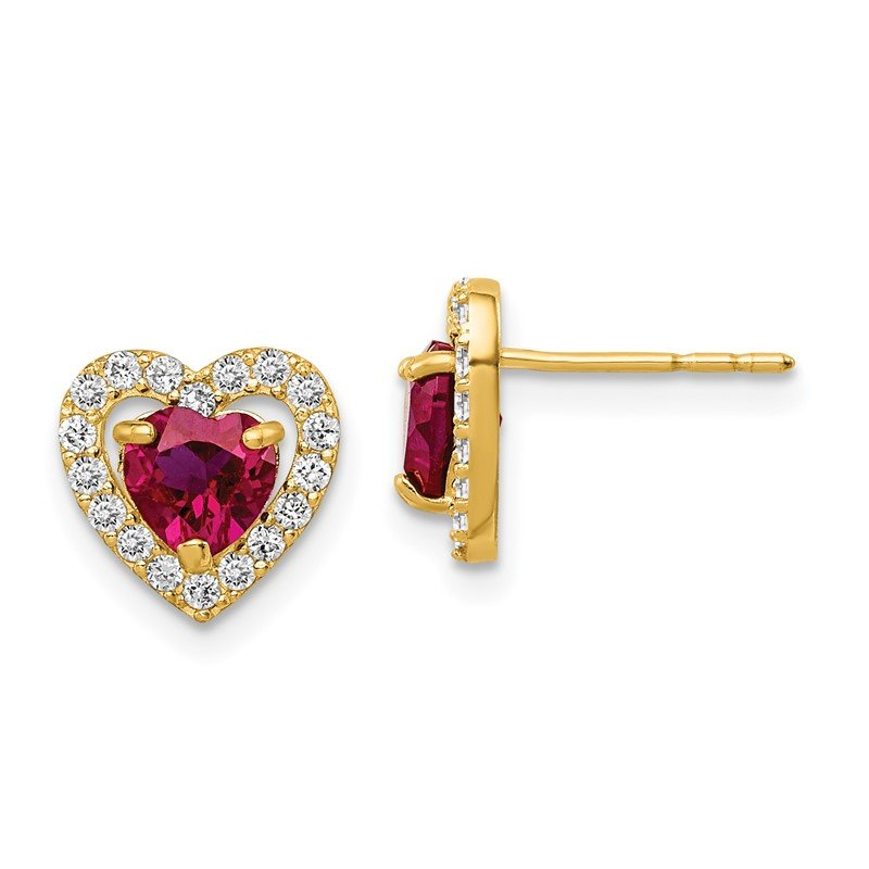 Quality Gold 14k Madi K Red and Clear CZ Heart Post Earrings