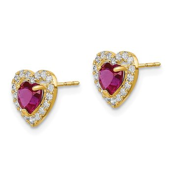 14k Madi K Red and Clear CZ Heart Post Earrings