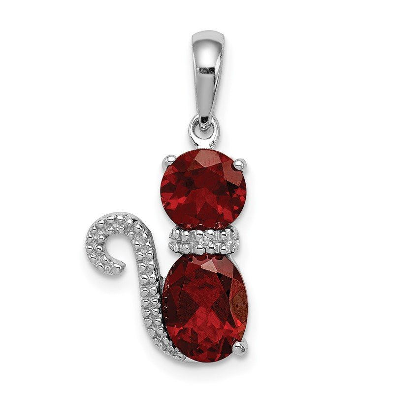 Quality Gold Sterling Silver Rhodium-plated Garnet and Diamond Cat Pendant