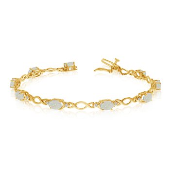 14K Yellow Gold Oval Opal and Diamond Bracelet