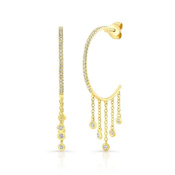 Yellow Gold Dangling Large Hoop