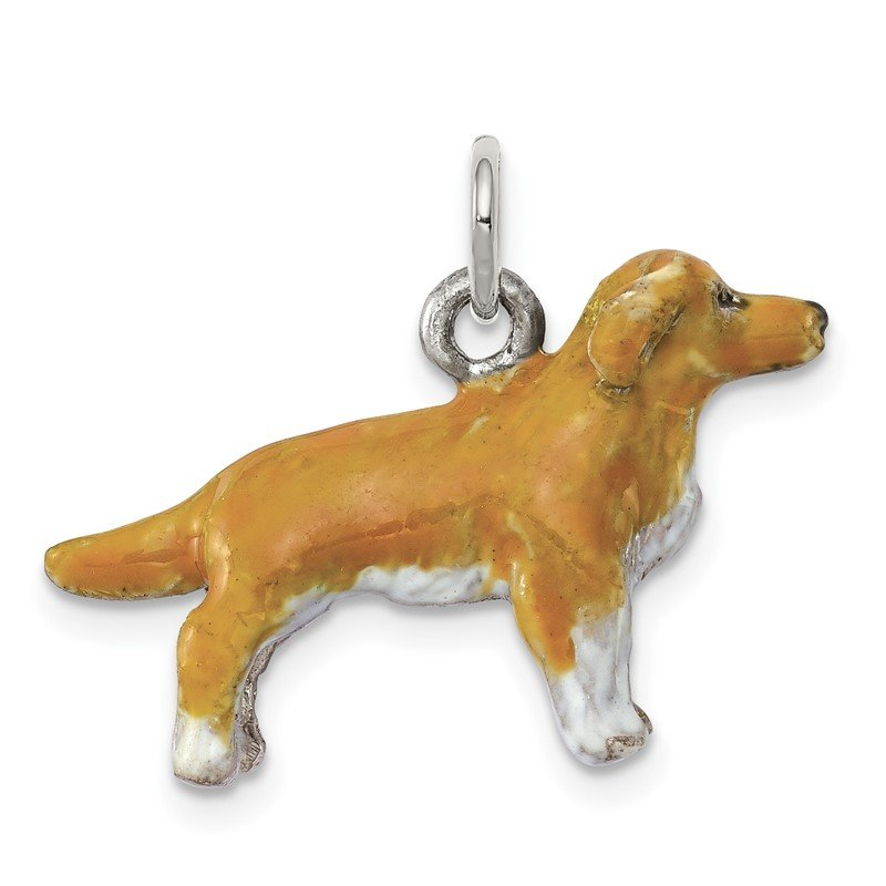 Quality Gold Sterling Silver Enameled Golden Retriever Charm