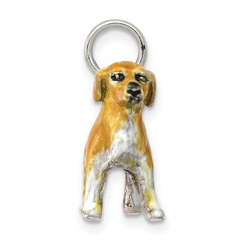 Sterling Silver Enameled Golden Retriever Charm